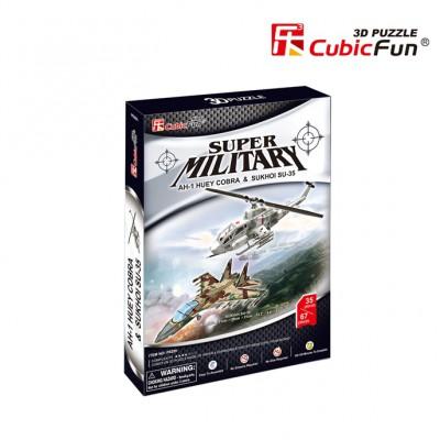 Cubic-Fun-P628H 3D Puzzle - AH-1 Huey Cobra & Sukhoi SU-35 (Schwierigkeit: 4/8)