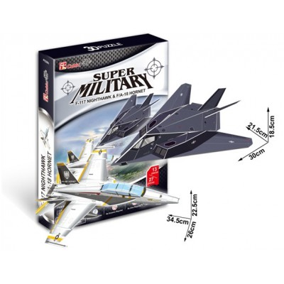 Cubic-Fun-P629H Puzzle 3D - F-117 Nightawk & F/A-18 Hornet Düsenflugzeug