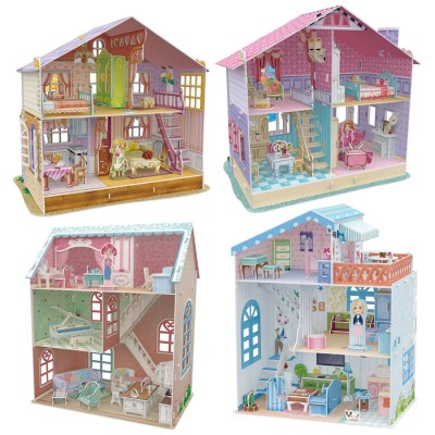 Cubic-Fun-Set-Doll-Houses 4 3D Puzzles - Set Doll Houses