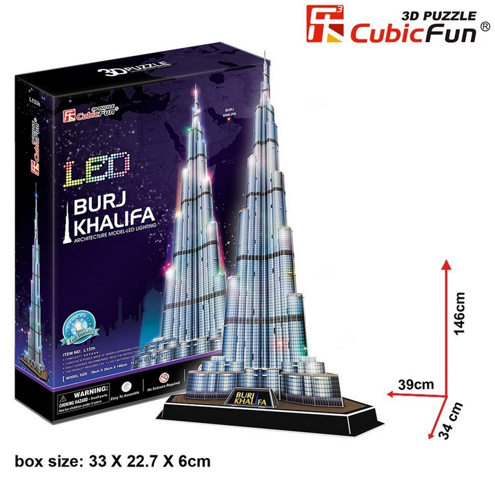 puzzle 3d mit led burj khalifa dubai schwierigkeit 6 8 136 teile cubic fun puzzle. Black Bedroom Furniture Sets. Home Design Ideas