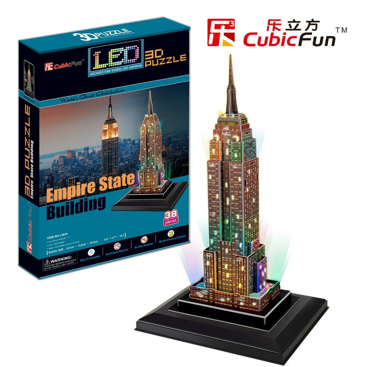 puzzle 3d mit led empire state building 38 teile cubic fun puzzle online kaufen. Black Bedroom Furniture Sets. Home Design Ideas