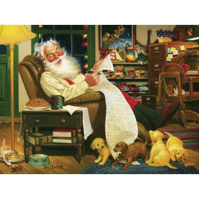 Puzzle Cobble-Hill-51635 Tom Newsom: Die Liste des Weihnachtsmannes