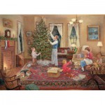 Puzzle  Cobble-Hill-51676 Lee Stroncek: Den Weihnachtsbaum schmücken