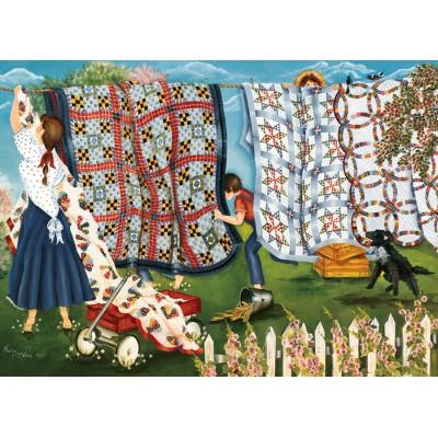 Puzzle Cobble-Hill-51709 Shelley McVittie: Die Wäscheleine