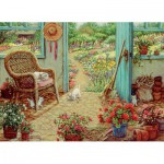 Puzzle  Cobble-Hill-51715 Janet Kruskamp: Das Gartenhäuschen