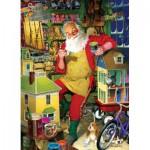 Puzzle  Cobble-Hill-51766 Tom Newsom: Die Werkstatt des Weihnachtsmannes