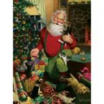 Puzzle  Cobble-Hill-52043 XXL Teile - Tom Newsom: Der Weihnachtsmann und seine Helfer