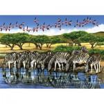 Puzzle  Cobble-Hill-52044 XXL Teile - Zebras und Flamingos