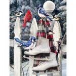 Puzzle  Cobble-Hill-52077 XXL Teile - Greg Giordano: Vögel mit Schlittschuhen
