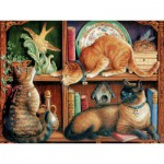 Puzzle  Cobble-Hill-52096 XXL Teile - Das Katzenbücherregal