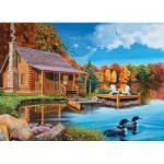 Puzzle  Cobble-Hill-70004 Blockhaus im Herbst
