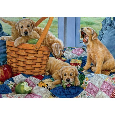 Puzzle Jumbo-11054 Susan Brabeau: Playful Puppies