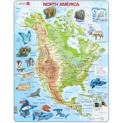 Larsen-A32-2 Rahmenpuzzle - Nordamerika (auf Englisch)