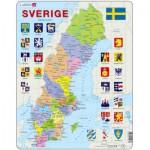 Larsen-A7 Rahmenpuzzle - Karte von Schweden (auf Schwedisch)