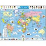 Larsen-K1-GB Rahmenpuzzle - Weltkarte (auf Englisch)