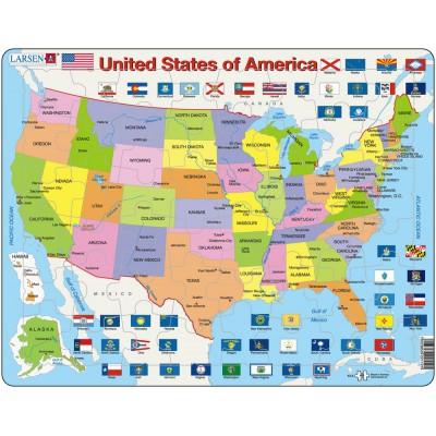 Larsen-K12 Rahmenpuzzle - United States of America (auf Englisch)