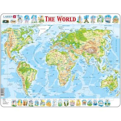 Larsen-K4-GB Rahmenpuzzle - Weltkarte (auf Englisch)
