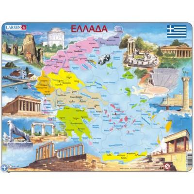 Larsen-K54 Rahmenpuzzle - Griechenland (auf Griechisch)