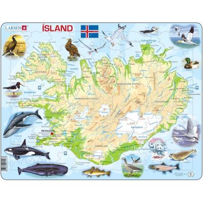 Larsen-K7 Rahmenpuzzle - Island (auf Isländisch)