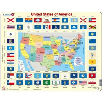 Larsen-L1 Rahmenpuzzle - United States of America (auf Englisch)