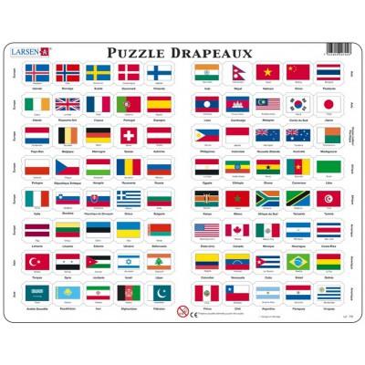 Larsen-L2-FR Rahmenpuzzle - Flaggen der Welt (auf Französisch)