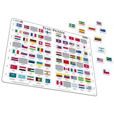 Larsen-L2-GB Rahmenpuzzle - Flaggen der Welt (auf Englisch)