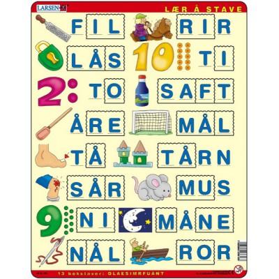 Larsen-LS16 Rahmenpuzzle - Buchstabieren lernen 2 (auf Norwegisch)