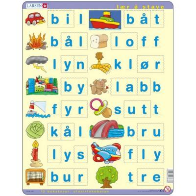 Larsen-LS38 Rahmenpuzzle - Lær å lese (små bokstaver) (auf Norwegisch)