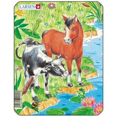 Larsen-M1-2 Rahmenpuzzle - Nette Tiere