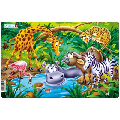 Larsen-U11-2 Rahmenpuzzle - Dschungeltiere