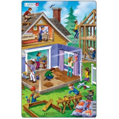 Larsen-U13-2 Rahmenpuzzle - Beim Hausbau