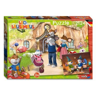 Noris-6060-38053 2 Puzzles - Leo Lausemaus