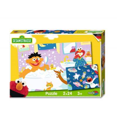 Noris-6060-38062 2 Puzzles - Sesamstrasse