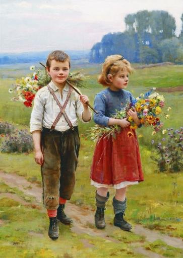 Puzzle Gold-Puzzle-60720 Cesar Pattein: Kinder am Heimweg