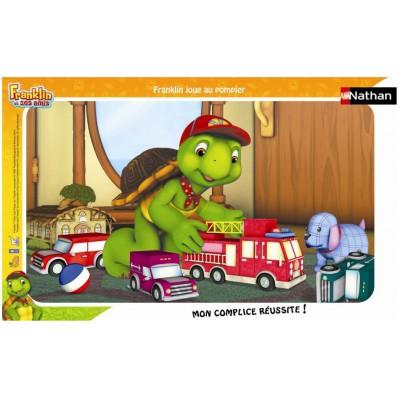 Nathan-86098 Puzzle 15 Teile Rahmenpuzzle - Franklin: Feuerwehrmann