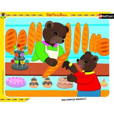 Nathan-86105 Puzzle quadratisch - Kleiner Braunbär in der Bäckere
