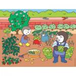 Puzzle  Nathan-86325 T'choupi im Gemüsegarten