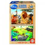 Educa-13144 Puzzle 2 x 50 Holzteile - Meine Freunde die Tiere