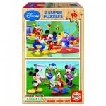 Educa-14181 Puzzle 2 x 16 Teile - Micky und seine Freunde
