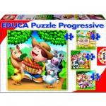 Educa-14867 Puzzleset mit steigenden Teilezahlen - Tiere auf dem Bauernhof