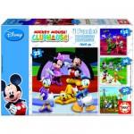 Educa-15288 4 Puzzles - Mickey und seine Freunde: Mickey's Haus