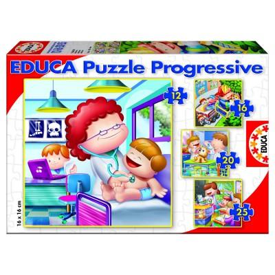 Educa-15618 Puzzleset mit steigenden Teilezahlen - Berufe