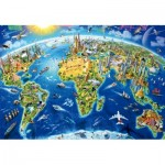 Puzzle  Educa-17129 World Landmarks Globe, Adrian Chesterman
