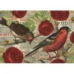 Puzzle  Jumbo-18398 Vögel lieben Blumen