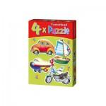 Castorland-04232 4 Puzzles - Transportmittel