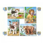Castorland-04287 4 Puzzles: Tiere