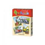 Castorland-04317 4 Puzzles - Formel 1, Zug, Bagger, Feuerwehrauto