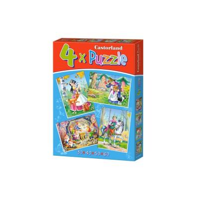 Castorland-04362 4 Puzzles: Schneewittchen und die sieben Zwerge