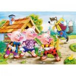Puzzle  Castorland-08521-B05 Die drei kleinen Schweinchen