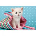 Castorland-08521-Z28 Minipuzzle - Kleines weißes Kätzchen